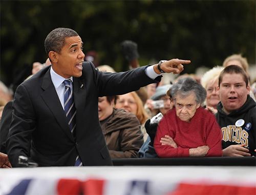 Vovó rabugenta aparece em foto com Barack Obama (Foto: Reprodução/thefrogman.me)