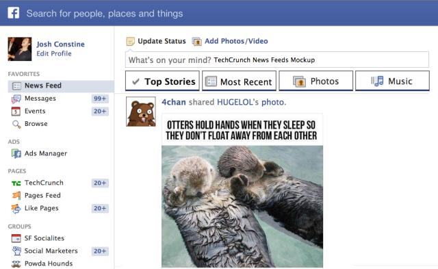O novo Feed de Notícias do Facebook terá abas com novas opções de filtragem (Foto: Reprodução/ Tech Crunch)