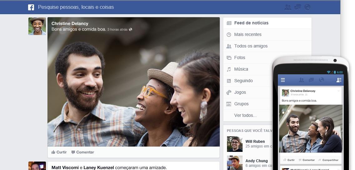 Interface do novo Feed de Notícias do Facebook (Foto: Reprodução)