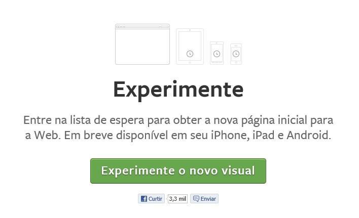 Opção para entrar na lista de espera para receber o novo Feed de Notícias do Facebook (Foto: Reprodução/Carolina Ribeiro)