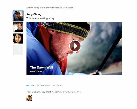 Quando um link for compartilhado muito, mostrará as fotos dos amigos ao lado do compartilhamento (Foto: Reprodução/Facebook)
