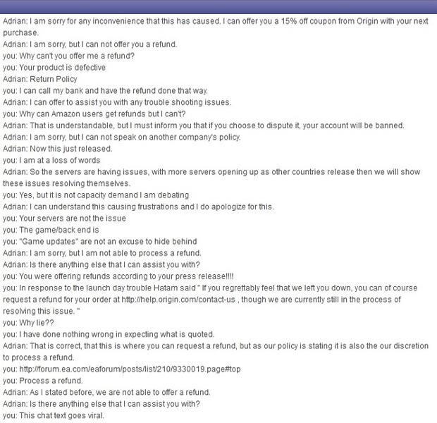 Foto do Chat em que EA se recusa a devolver dinheiro do consumidor (Foto: Gamechup)