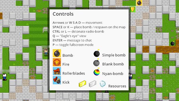 Os controles, power-ups e status são um misto de Bomberman e piadas da internet (Foto: Reprodução: Rafael Monteiro)
