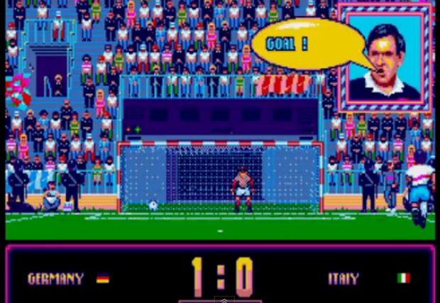 Momento do gol em Italia'90 (Foto: Reprodução/YouTube)