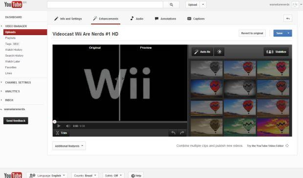 Novo canal do YouTube permite adição de filtros e edição dos vídeos (Foto: Reprodução/YouTube)
