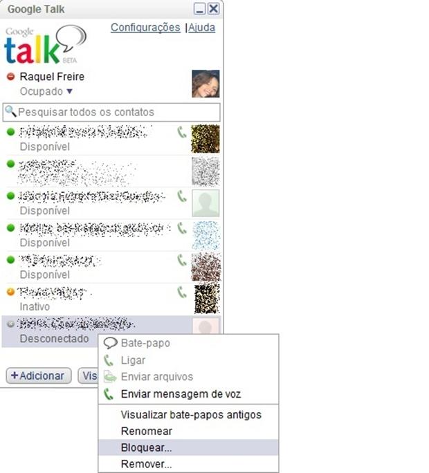 Tela de contatos do Google Talk aberta (Foto: Reprodução/ Raquel Freire)