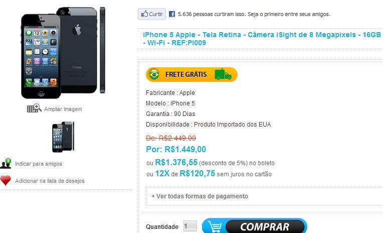 Neon Eletro não vende mais o iPhone 5 mais barato? (Foto: Reprodução/Neon Eletro)
