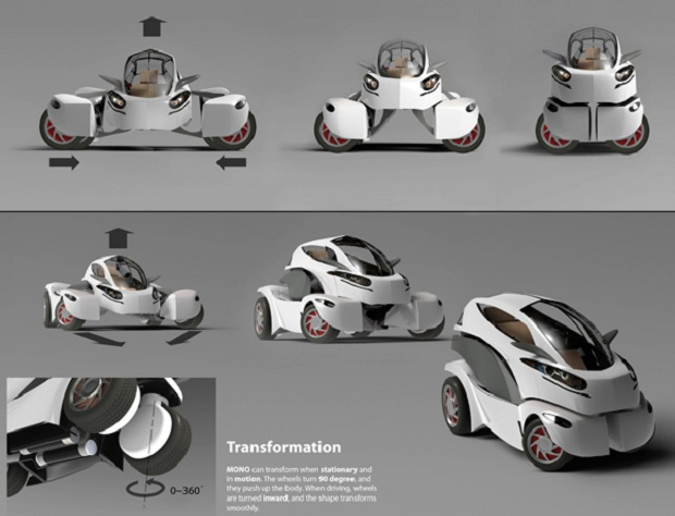 MONO oferece diversas opções de transformação física ao motorista (Foto: Reprodução Yanko Design) (Foto: MONO oferece diversas opções de transformação física ao motorista (Foto: Reprodução Yanko Design))