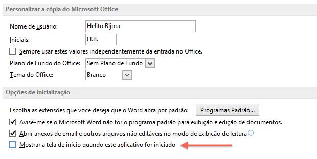 Opções do Word 2013 (Foto: Reprodução/Helito Bijora)