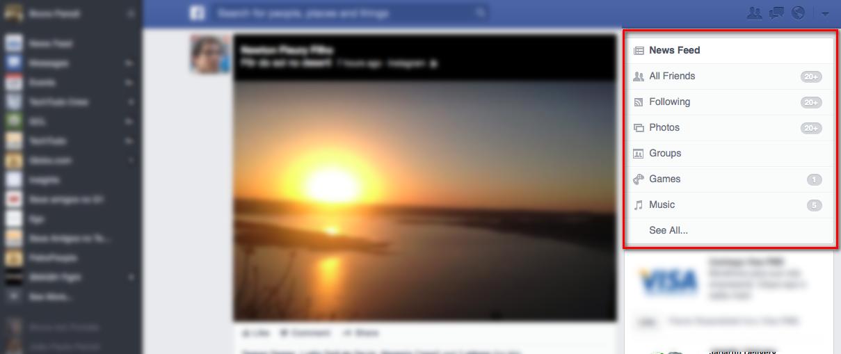 Agora o usuário poderá escolher por qual filtro do feed de notícias que quiser navegar (Foto: Reprodução/TechTudo)