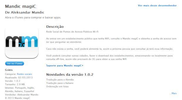 O aplicativo Madic magiC no iTunes (Foto: Divulgação)