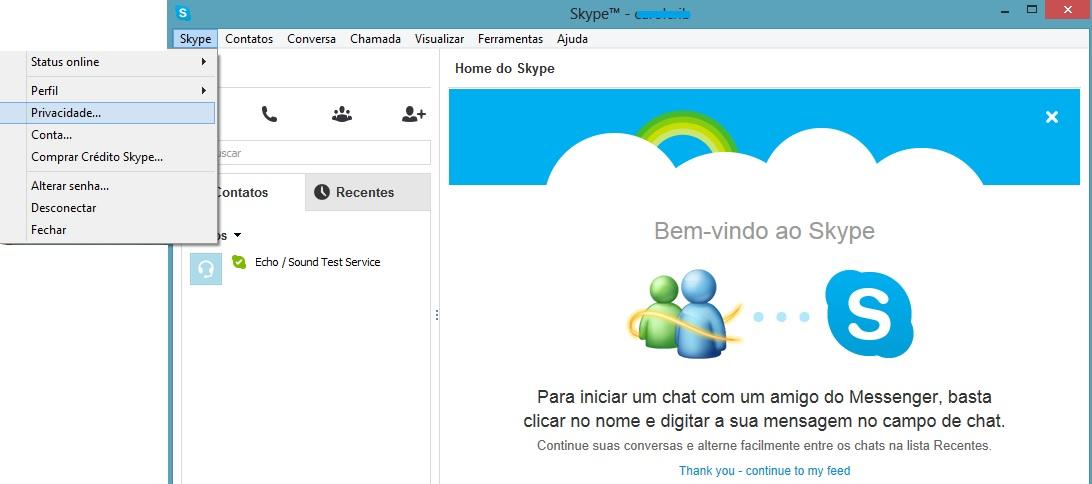 Acessando a opção de privacidade no Skype (Foto: Reprodução/Carolina Ribeiro)