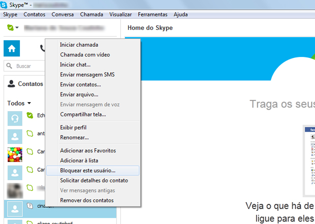 Selecione o usuário que deseja bloquear (Foto: Reprodução/ Mariana Coutinho)