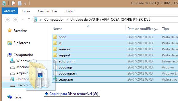 Copiando arquivos de instalação do Windows para o disco (Foto: Reprodução/Helito Bijora)