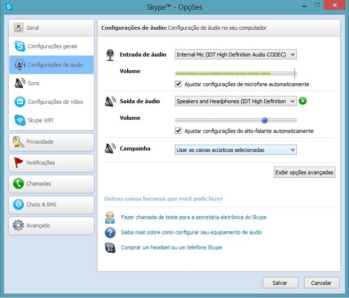 Configurando o áudio do microfone no Skype (Foto: Reprodução/Carolina Ribeiro)