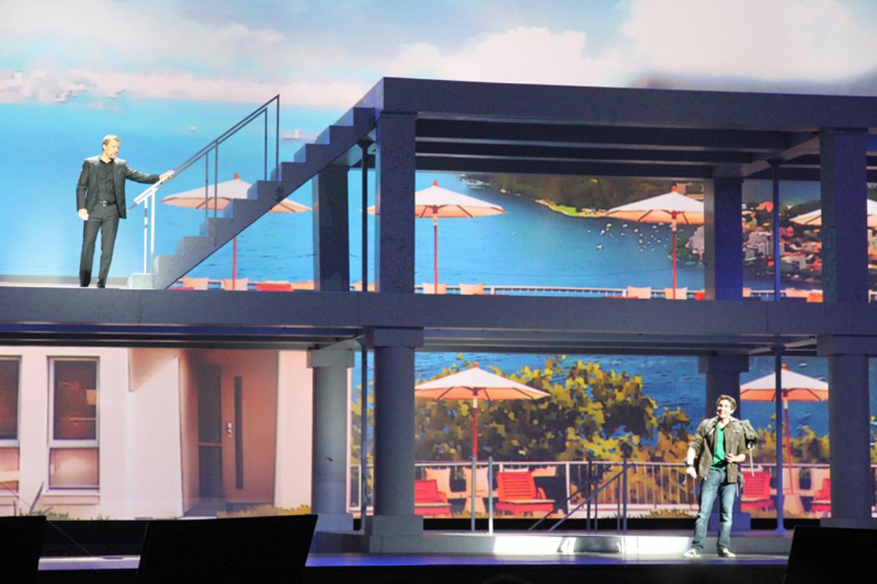 Brasil é lembrado no evento de lançamento do S4, durante a exibição do recurso Story Album (Foto: Allan Melo/ TechTudo)