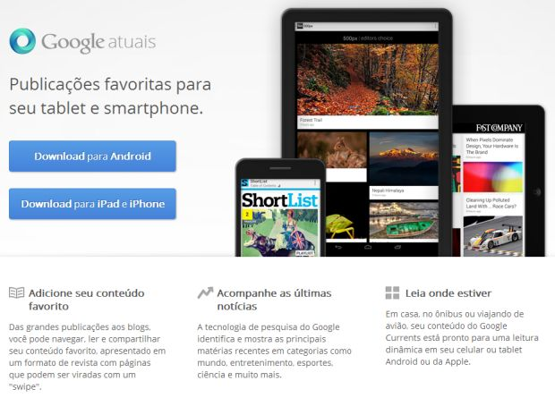 Google Currents na web (Reprodução/Google Currents)