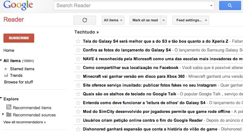 Google Reader do TechTudo nos dias atuais (Foto: Reprodução/TechTudo)