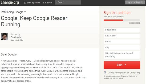 Usuários querem que Reader continue funcionando (Foto: Divulgação)