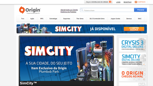 O Origin é o site patrocinado pela EA que traz grandes produções. (Foto: Reprodução)
