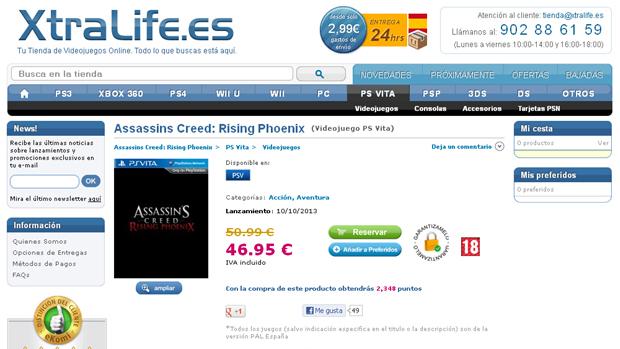 Loja XtraLife listou Assassin's Creed: Rising Phoenix para PS Vita, com caixa tapume (Foto: Eurogamer)