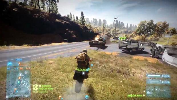 Motos se tornam armas mortais contra tanques no DLC End Game de Battlefield 3 (Foto: Divulgação)