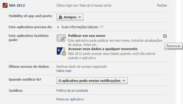 Retirando a notificação de um aplicativo em seu nome no Facebook (Foto: Aline Jesus/Reprodução)