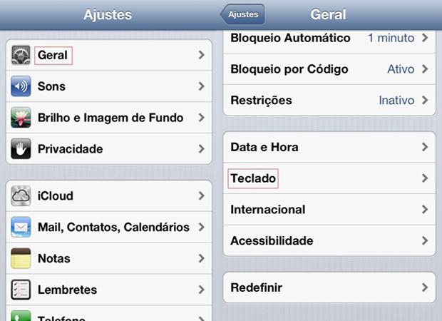 """Telas para acesso do menu """"Geral"""" e """"Teclado"""" no iPhone (Foto: Reprodução/Larissa Ferreira)"""