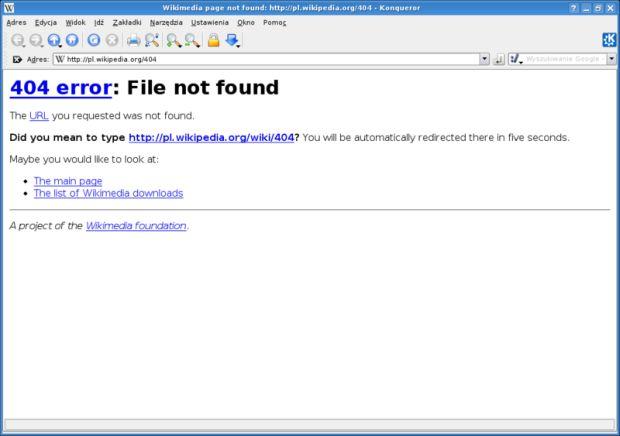 Página genérica de erro 404 é composta apenas por texto, sem nada atraente (Foto: Wikimedia Commons)
