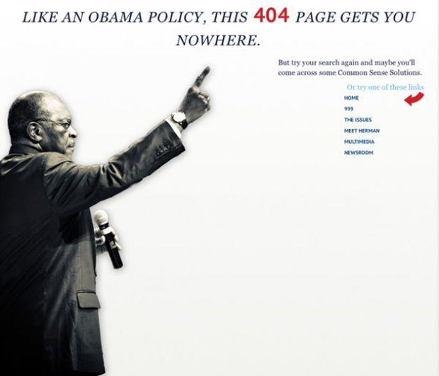 Página de erro 404 do político Herman Cain (Foto: Reprodução/Business Insider)