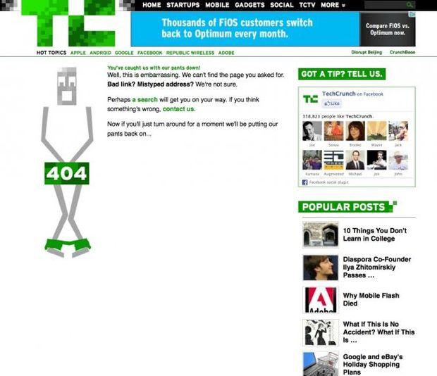 Página de erro 404 do TechCrunch (Foto: Reprodução/BusinessInsider)