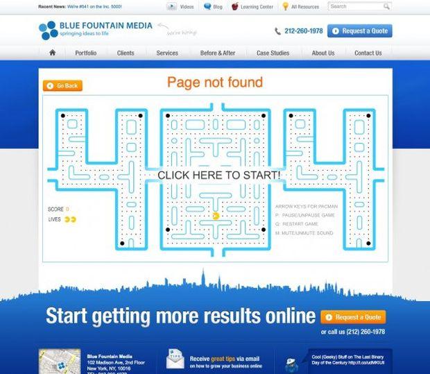 Página de erro 404 do Blue Fountain Media (Foto: Reprodução/BusinessInsider)