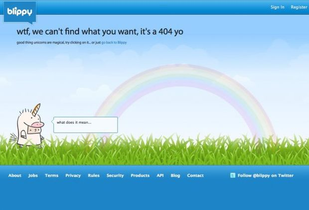 Página de erro 404 do Blippy (Foto: Reprodução/BusinessInsider)