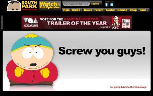 Página de erro 404 do South Park (Foto: Reprodução/BusinessInsider)