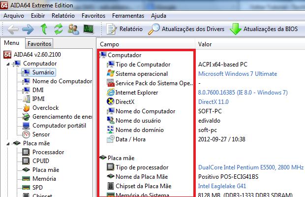 Aida pode ajudá-lo a ver todos os detalhes do PC (Foto: reprodução/Edivaldo Brito)