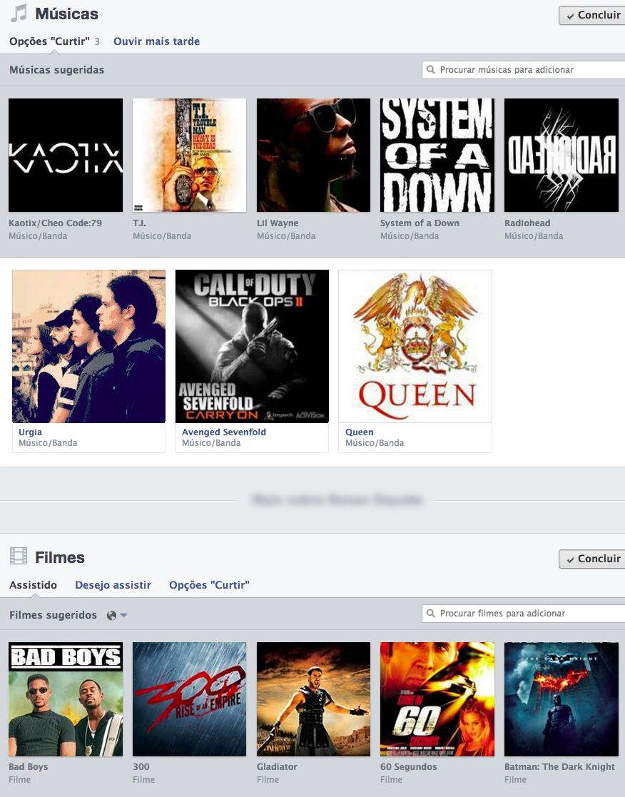 O usuário poderá escolher o que exibir em seus temas favoritos: músicas, livros, filmes (Foto: Reprodução/TechTudo)