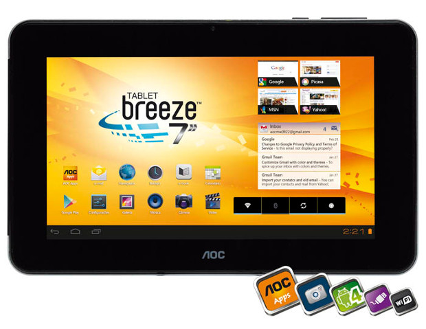 Tablet AOC Breeze tem bom preço, mas vem sem bluetooth e 3G (Foto: Divulgação)