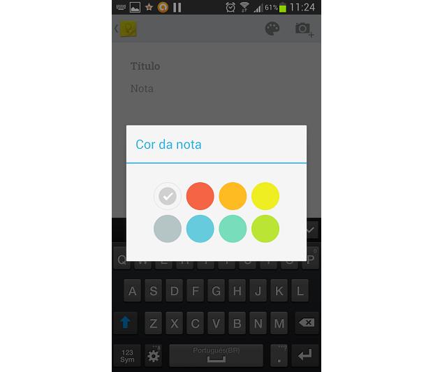 É possível alterar cores de fundo das notas (Foto: Thiago Barros/TechTudo)