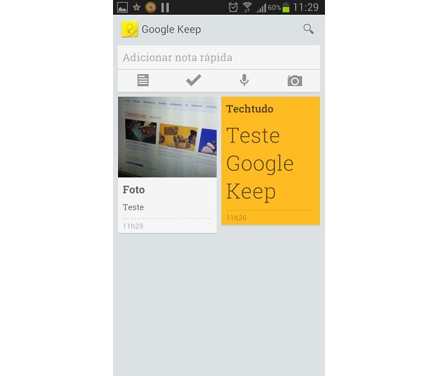 Google Keep exibe notas em sua página inicial (Foto: Thiago Barros/TechTudo)