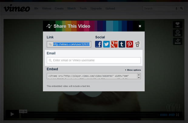 3 compartilhando o video por email