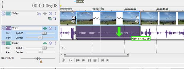 Arraste a mãozinha para baixo para reduzir ou remover o áudio