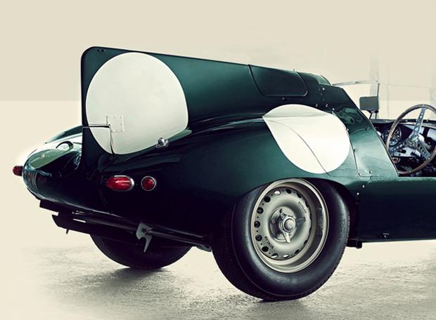 Foto mostra o detalhe da asa nadadeira do Jaguar D-Type (Foto: Reprodução)