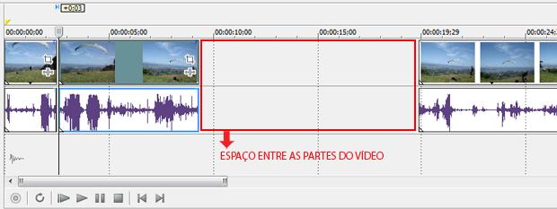 Deixe um espaço livre entre o trecho selecionado e o restante do vídeo