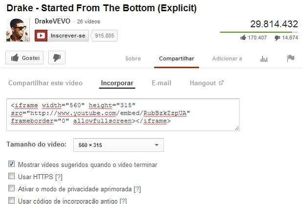 YouTube oferece código para incorporar vídeos em sites (Foto: Thiago Barros/TechTudo)