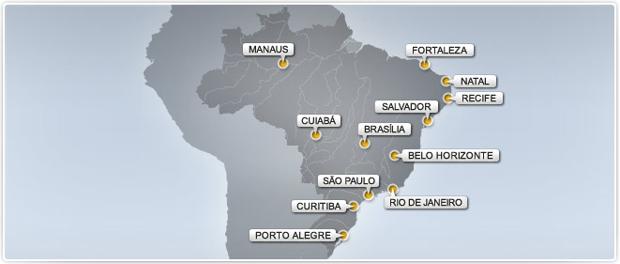 cidades sedes da copa do mundo (Foto: cidades sedes da copa do mundo)