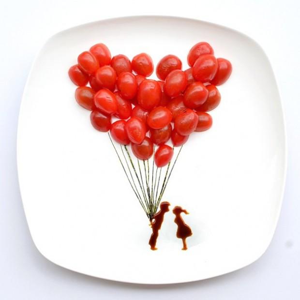 Prato com comida vira uma cena romântica