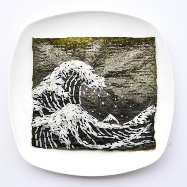 Cena de uma onda feita com grãos