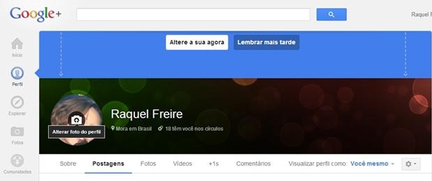 Tela inicial do Google+ (Foto: Reprodução/ Raquel Freire)