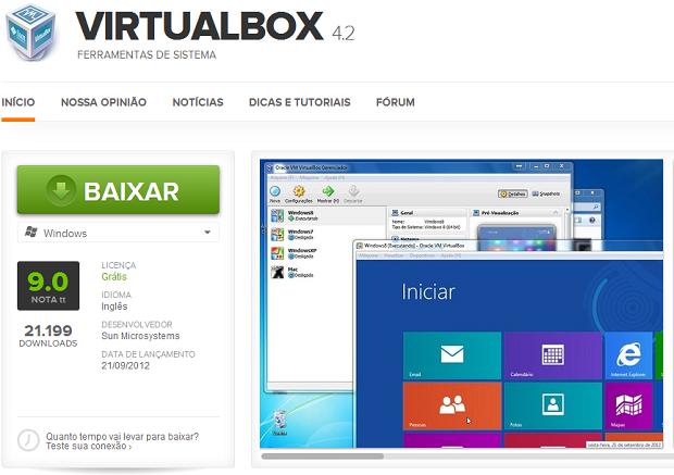 Baixando o VirtualBox no TechTudo (Foto: Reprodução/Edivaldo Brito)