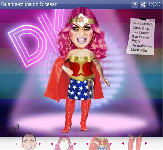 Tela do Provador do Ego: Drag Queen (Foto: Reprodução/ Raquel Freire)
